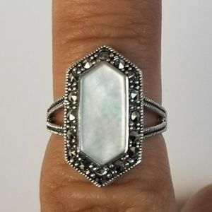 Georgeous Mother Of Pearl  Marcasite Ring Size 5